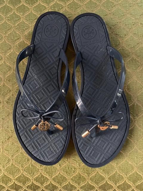 a4d401b81523 Authentic Tory Burch Jelly Bow Logo Charm Thong Sandals Blue Size 6 ...