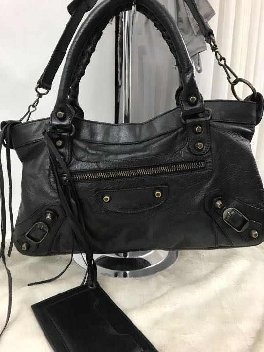 2da02f950bc Balenciaga Black Leather Classic First Bag N 2421Y, Luxury, Bags & Wallets,  Handbags on Carousell