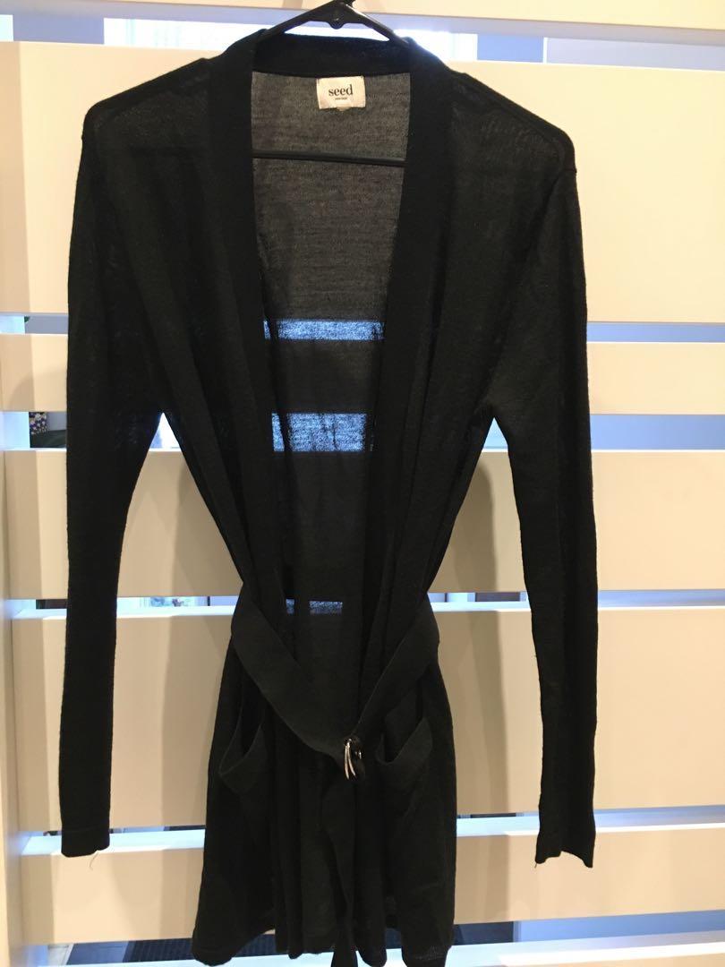 Beautiful black cardigan with belt - size s/m