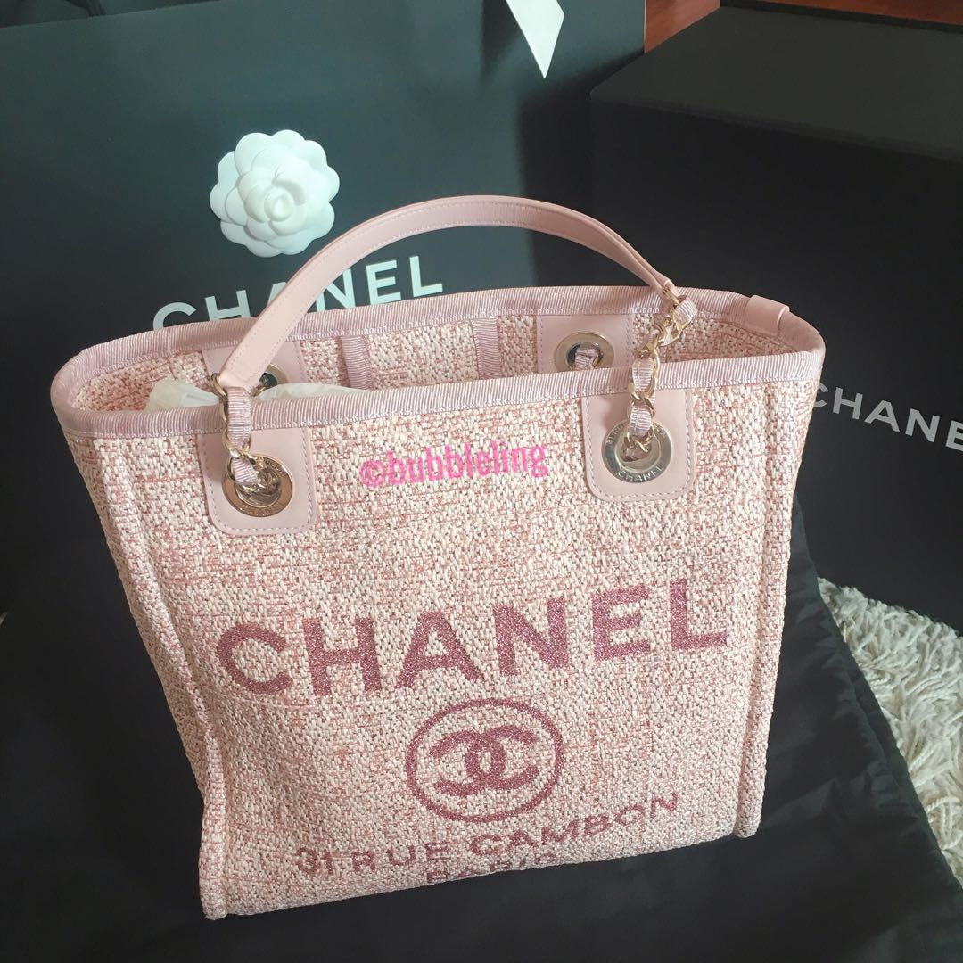 a58c8396c9fc BN Chanel Deauville Pink Tote, Luxury, Bags & Wallets, Handbags on ...