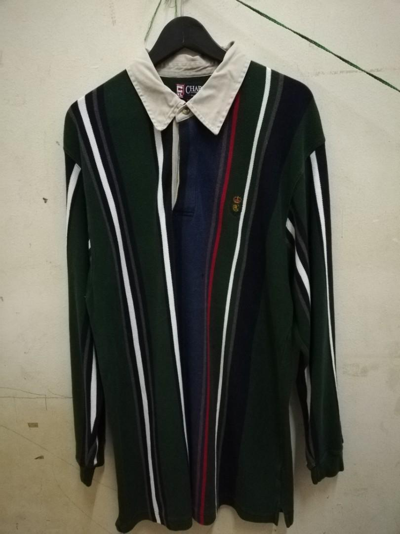 374fd6c13a Chaps Ralph Lauren Rugby vertical stripe polo shirt on Carousell