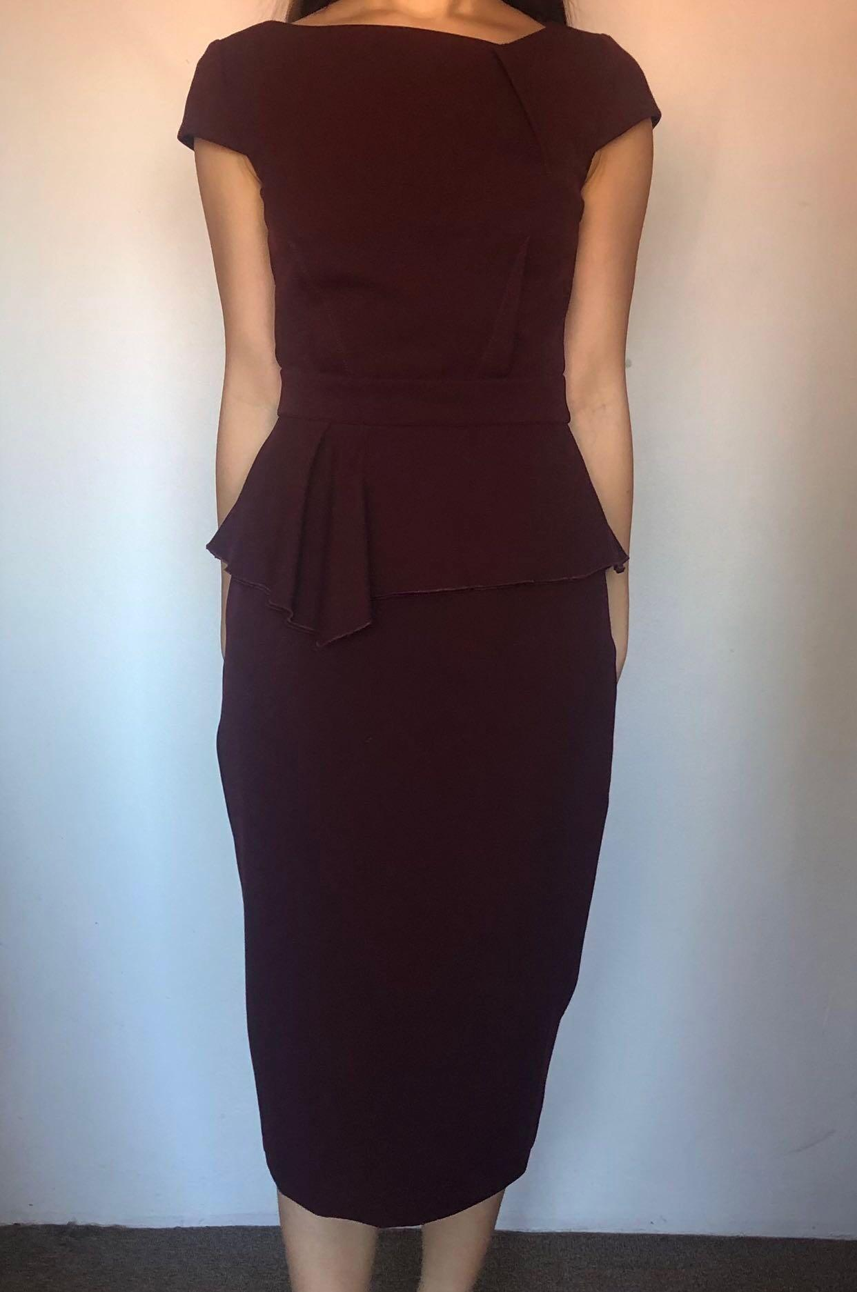 CUE | Draped Peplum Pencil Dress in Plum | Size 6 | NEW!!