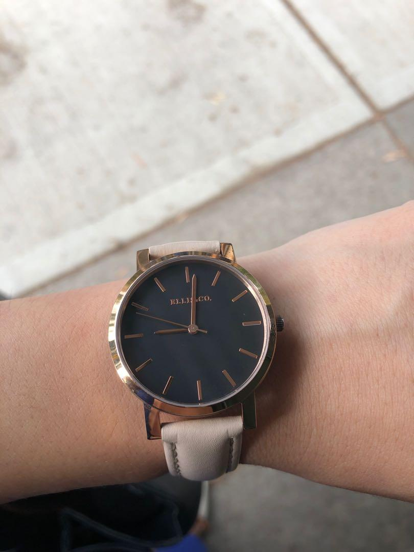 Ellis & co watches rose gold plated leather woman watch