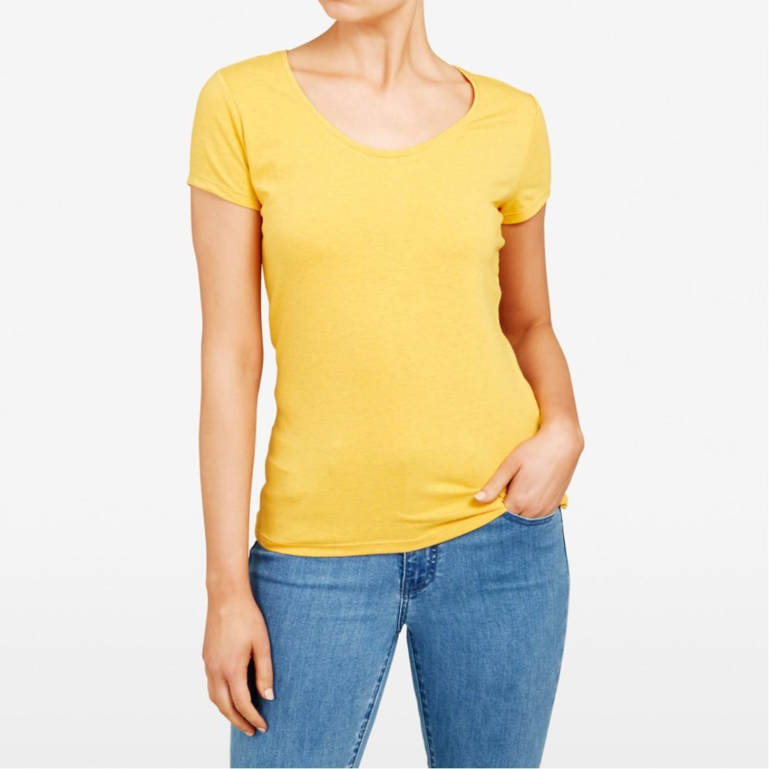 FRENCH CONNECTION Hayley Stretch Yellow Scoop Neck Tee