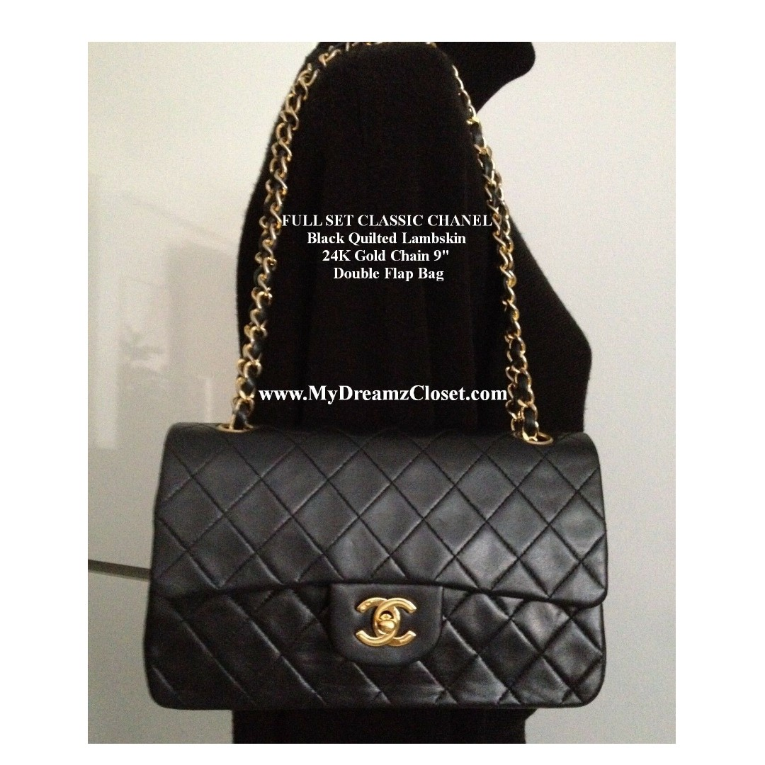dcbf61635629 FULL SET CLASSIC CHANEL Black Quilted Lambskin 24K Gold Chain 9 ...
