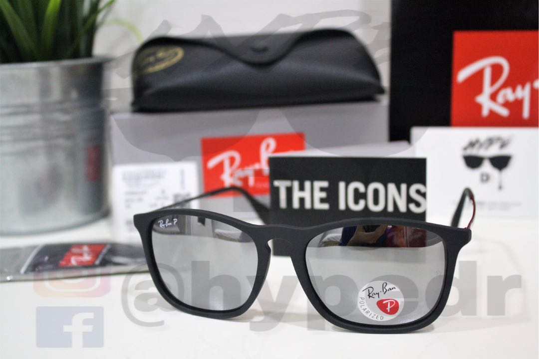 00310adcd3 Genuine Ray Ban Chris RB4187 601 30 54MM Silver Mirror Polarized ...