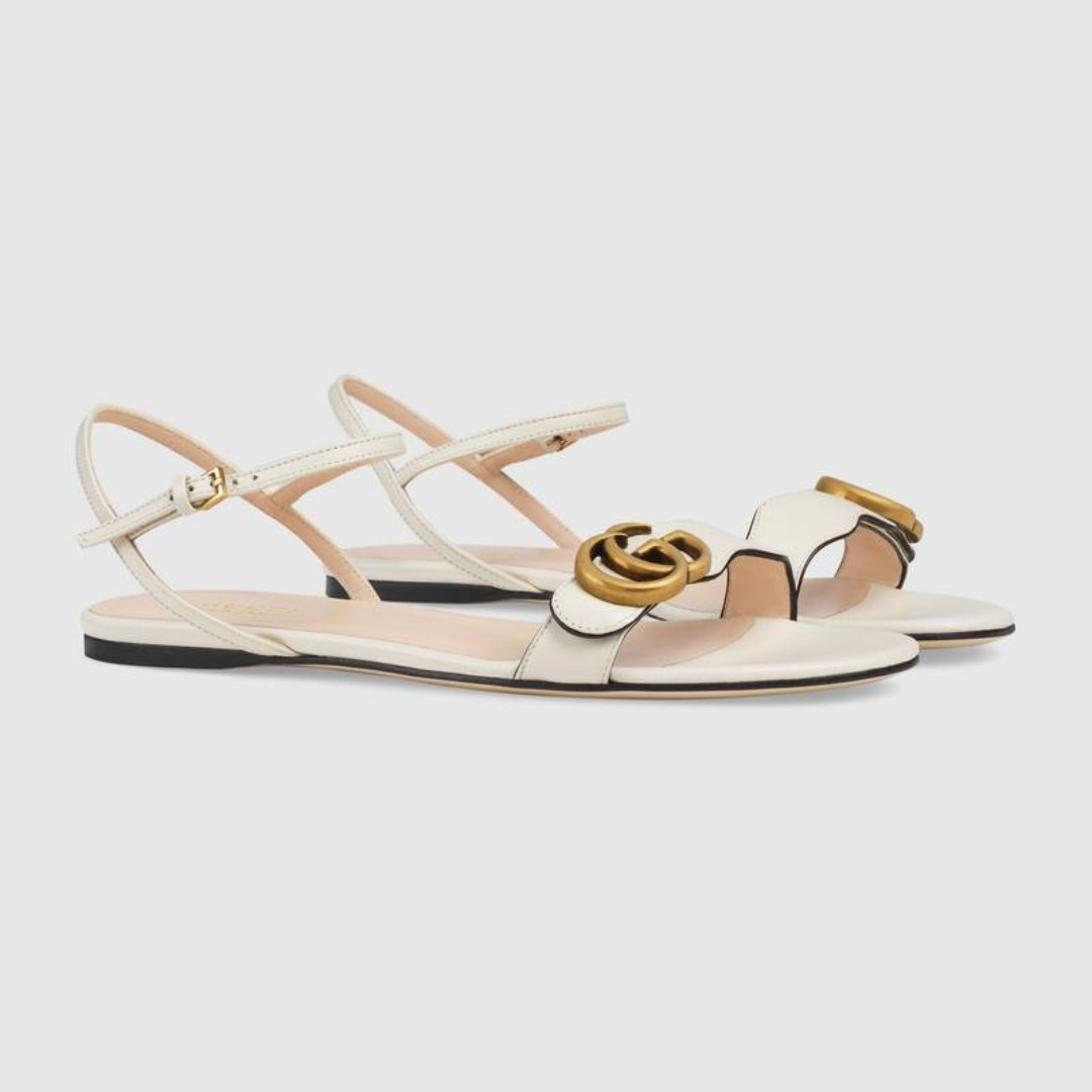 dcf1c6851 Gucci Leather sandal with Double G (GU), Women's Fashion, Women's Shoes on  Carousell