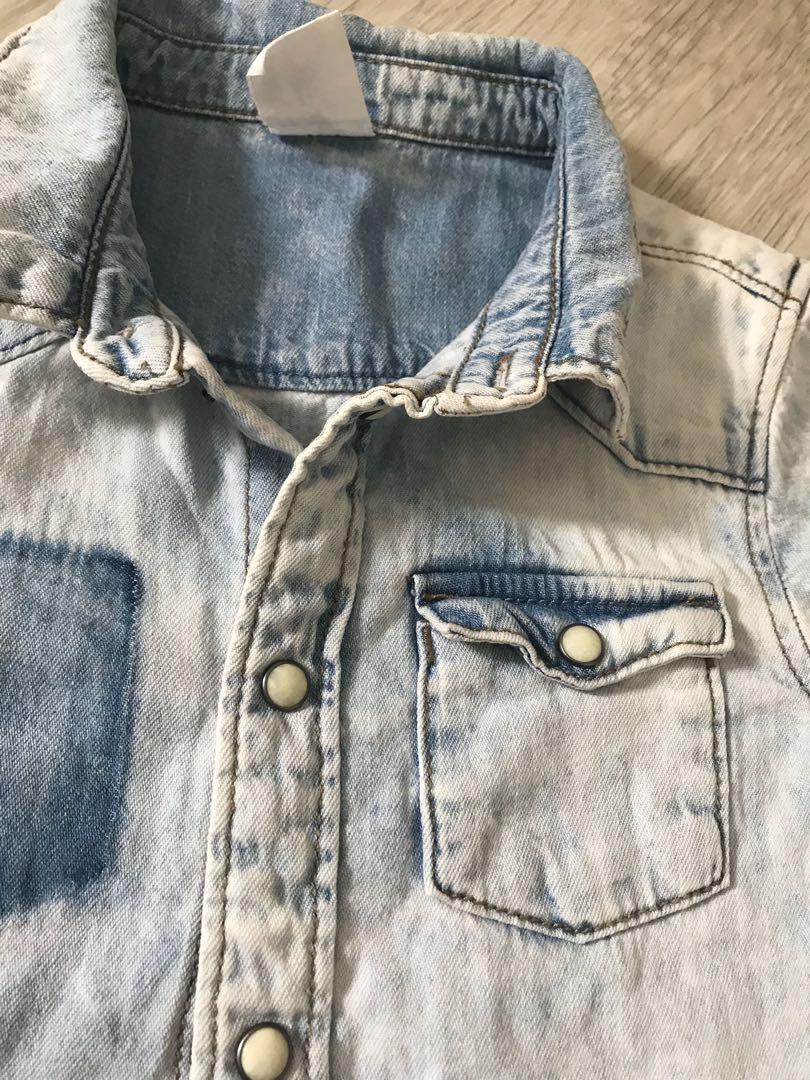 ba16c88105e99 H M vintage short sleeve wash denim jean shirt