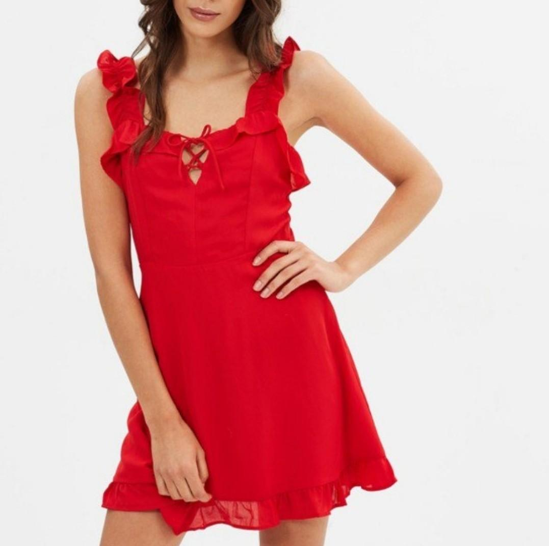 Lioness hamptons mini dress red frill with cute chest tie up