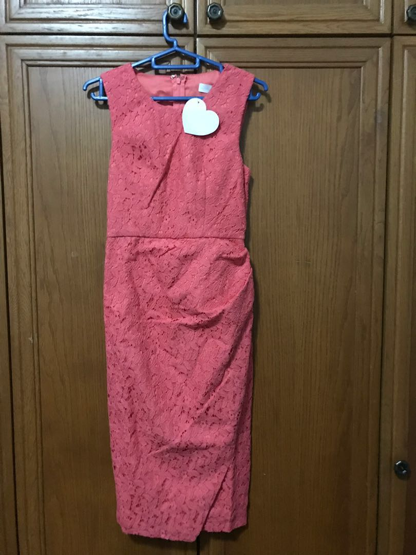 ad9ceef76152 Love Bonito Sleeveless Coral Lace Dress, Women's Fashion, Clothes ...