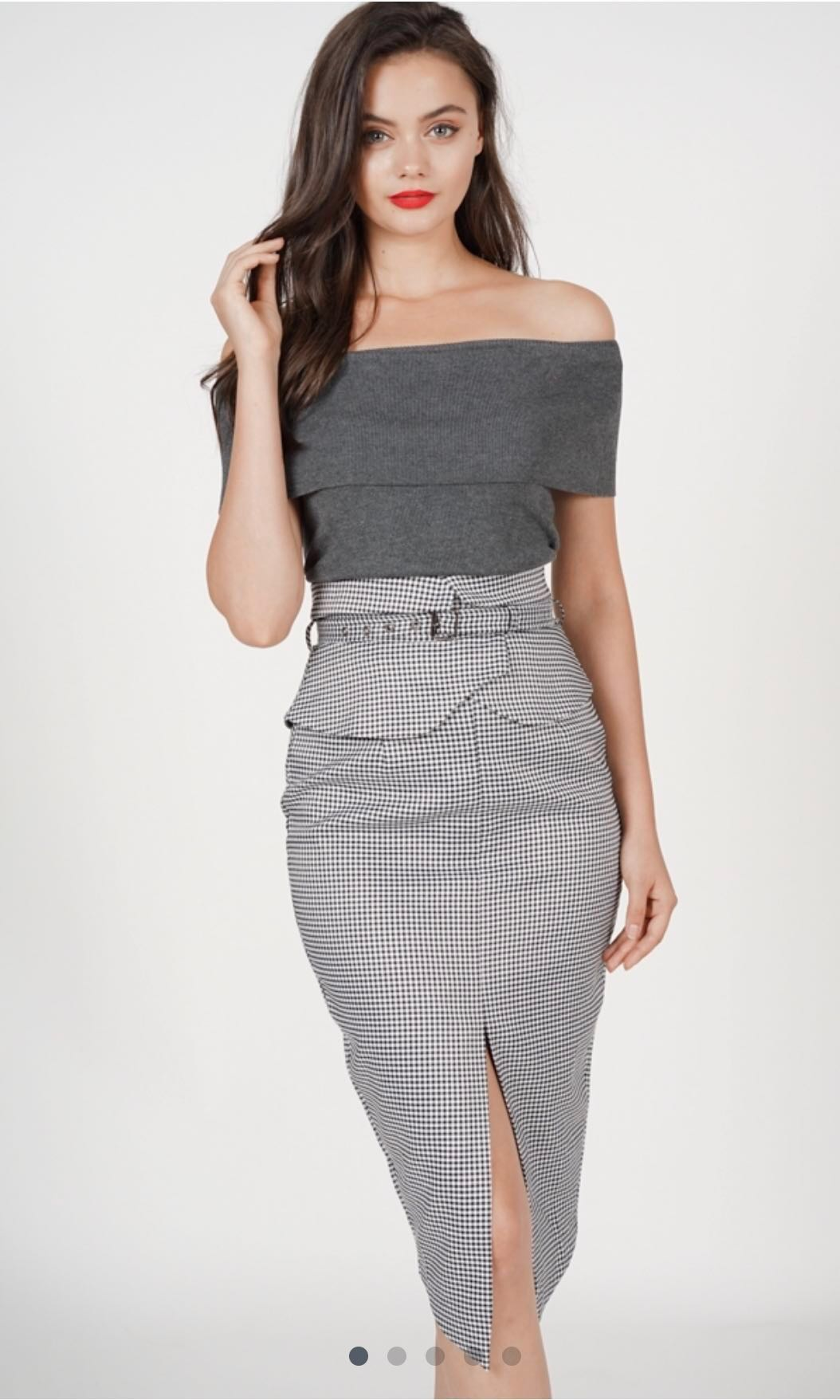 0a464cb08 MDS flap over pencil skirt in black gingham, Women's Fashion ...