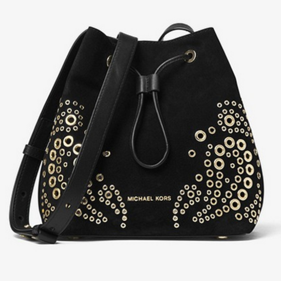 fe0b8d3691 InStock Now! Michael Kors Cary Small Grommeted Suede Bucket Bag ...