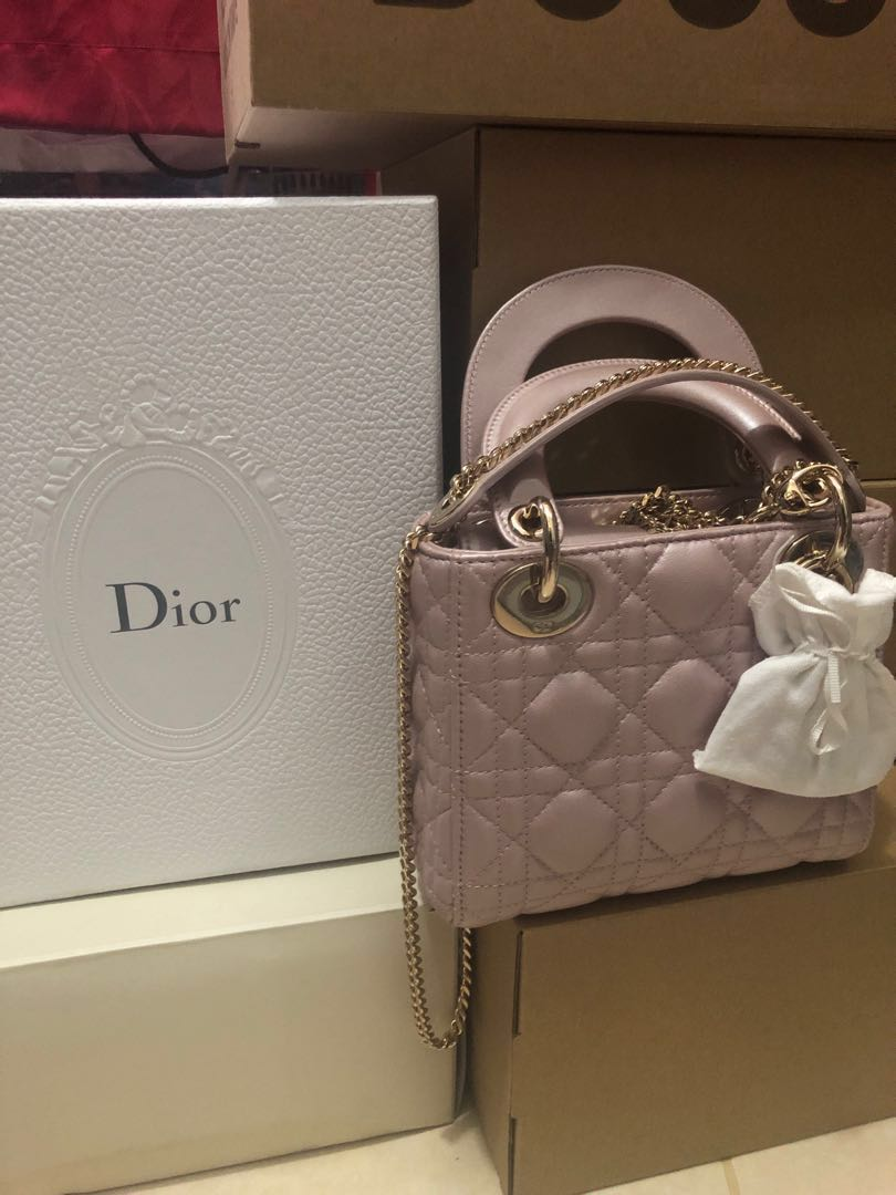 "731be9aa6c65 Mini ""Lady Dior"" bag In lotus pearly lambskin, Women's Fashion, Bags &  Wallets, Handbags on Carousell"