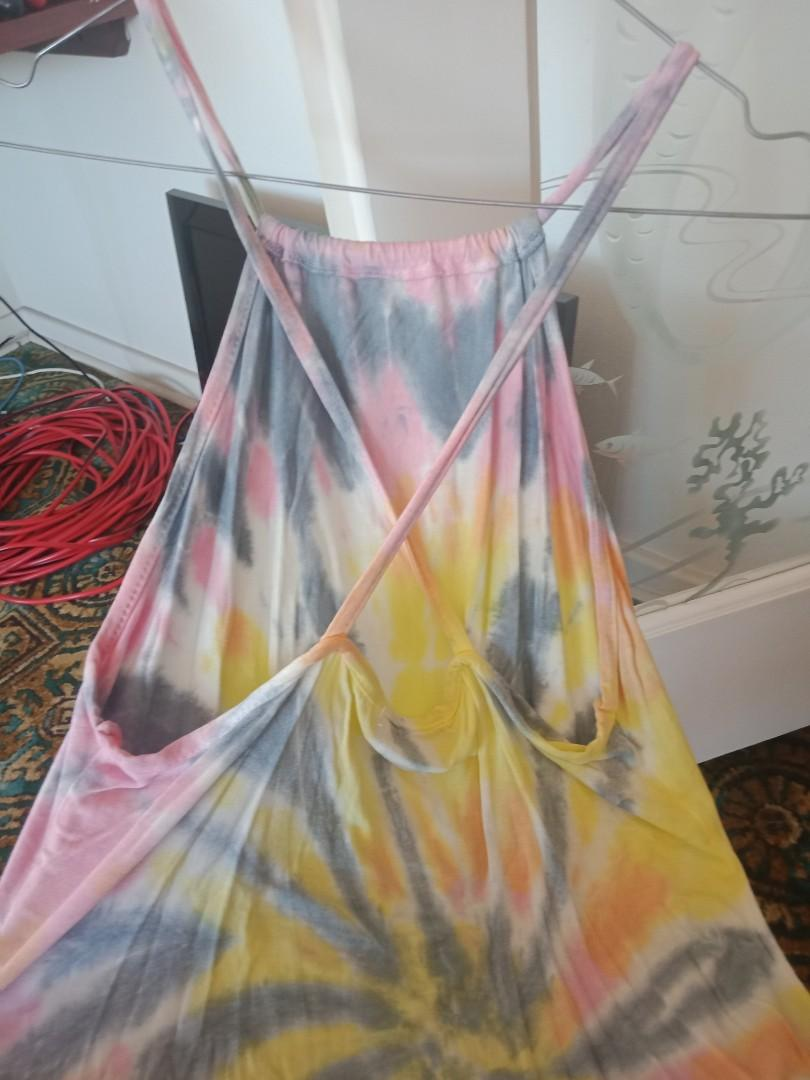 Missguided size 12 new with tags bodycon casual strappy tie dye dress