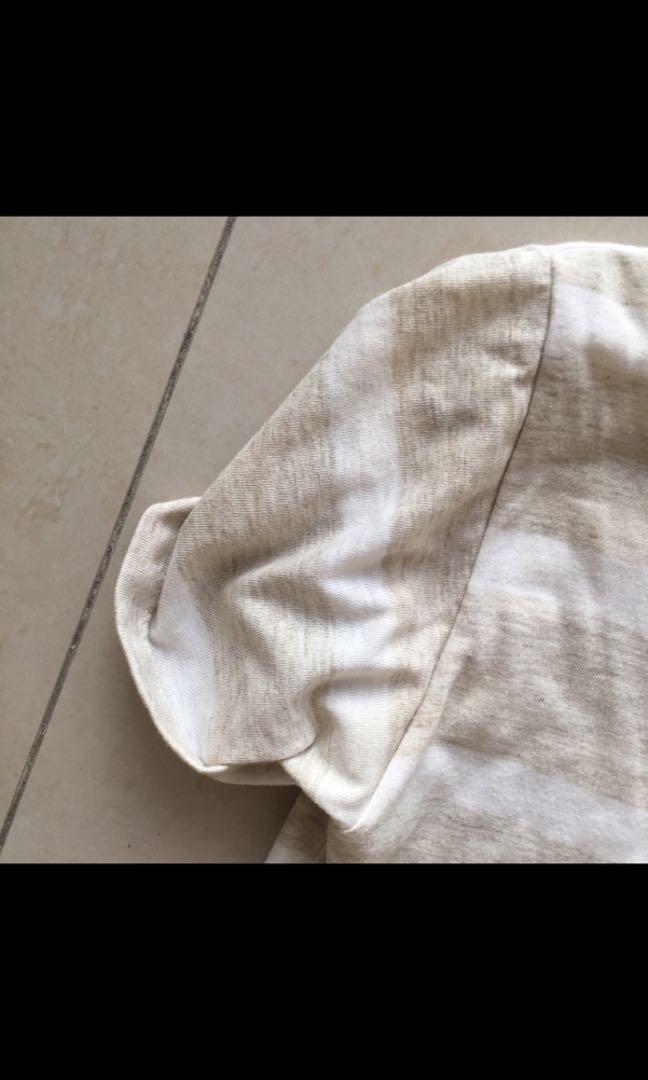 Oversized beige and white stripe off shoulder T-shirt dress