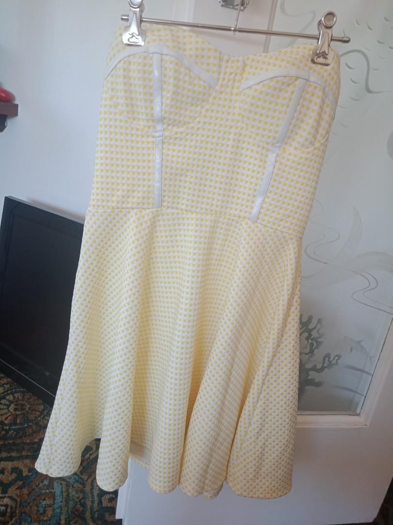 Paint It Red size small yellow white gingham strapless dress