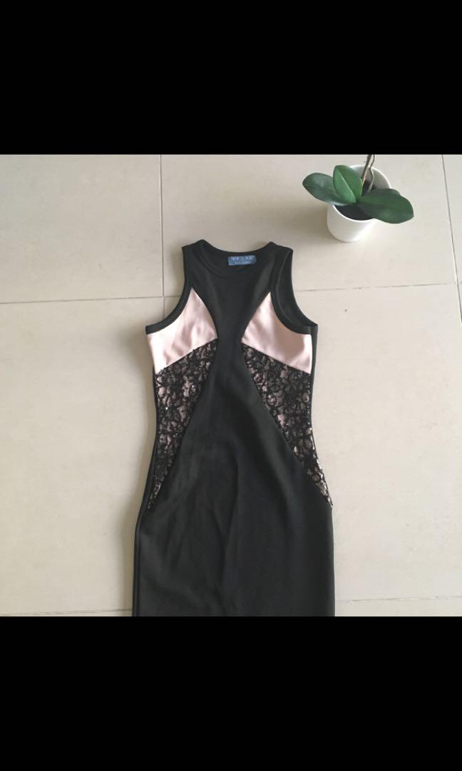 Pearl, black and nude panel body con dress with detail