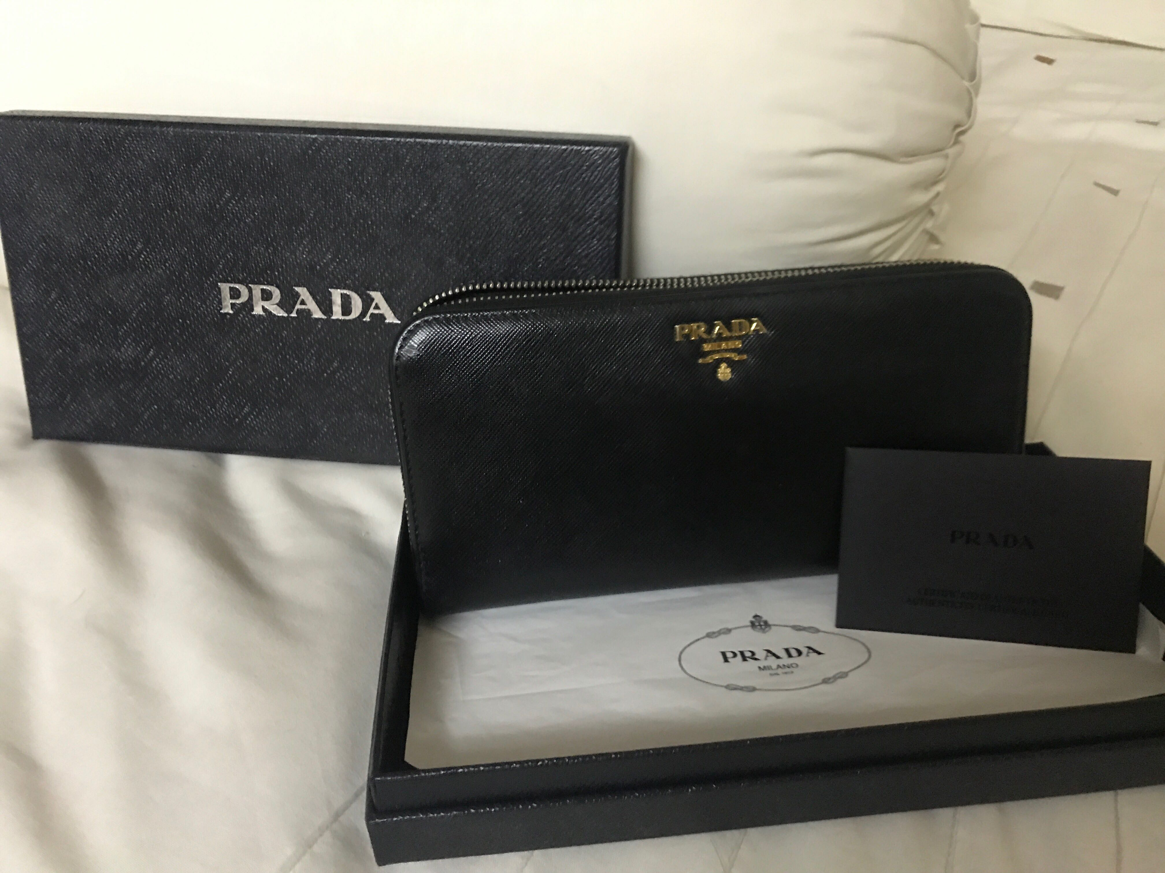 1b498e73c7c4 Prada Saffiano Ziparound Black Wallet, Luxury, Bags & Wallets ...