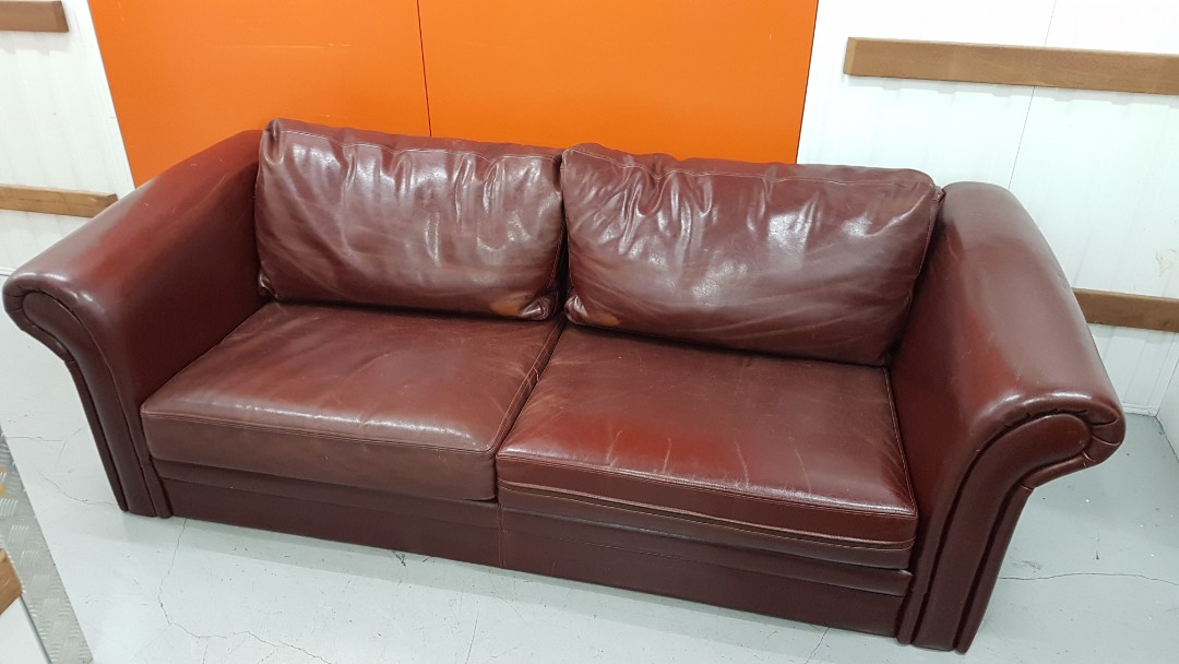 Rustic Brown Genuine Leather Sofa