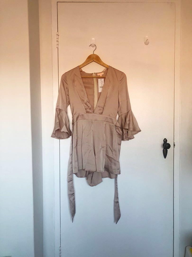 SHOWPO | Let It Unfold Playsuit in Beige | Size S | NEW!!
