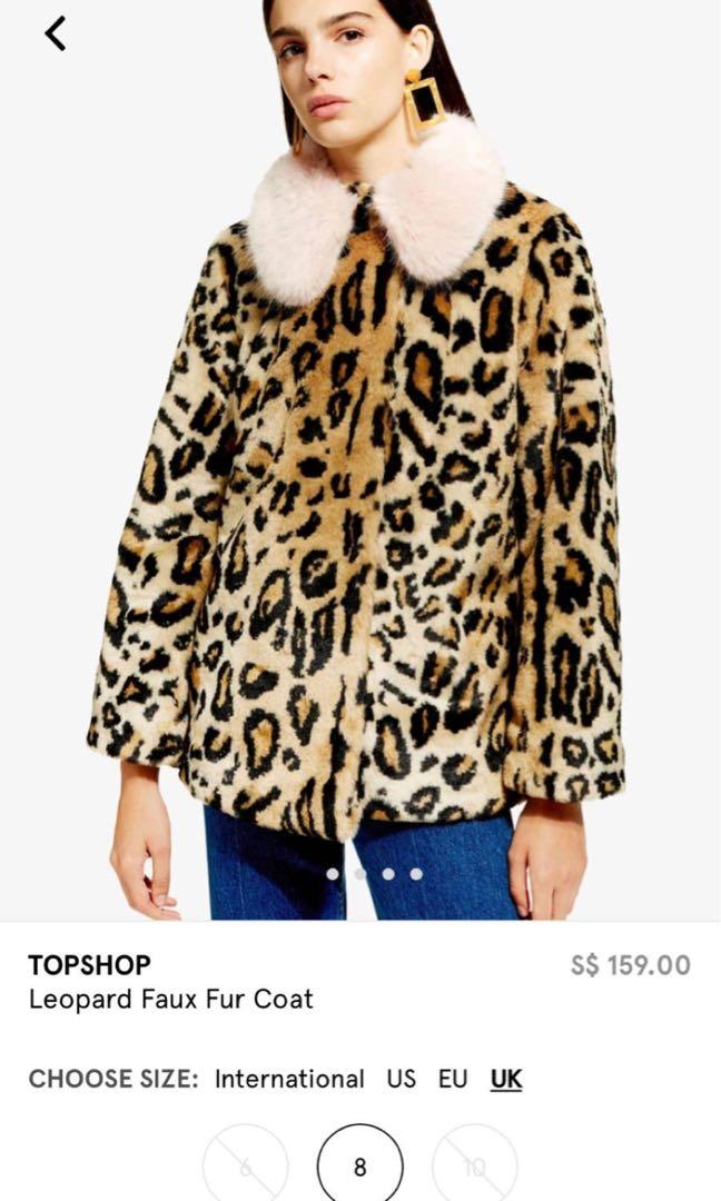 4a279798f90de Topshop leopard faux fur coat