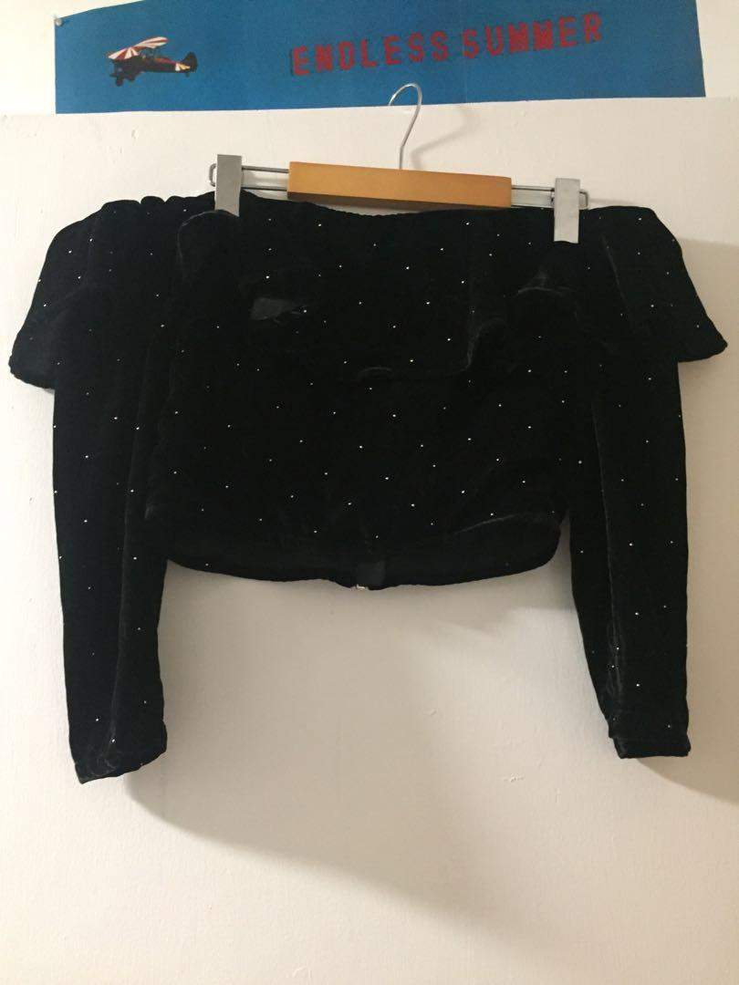 Topshop studded cropped ruffled velvet top - US 4
