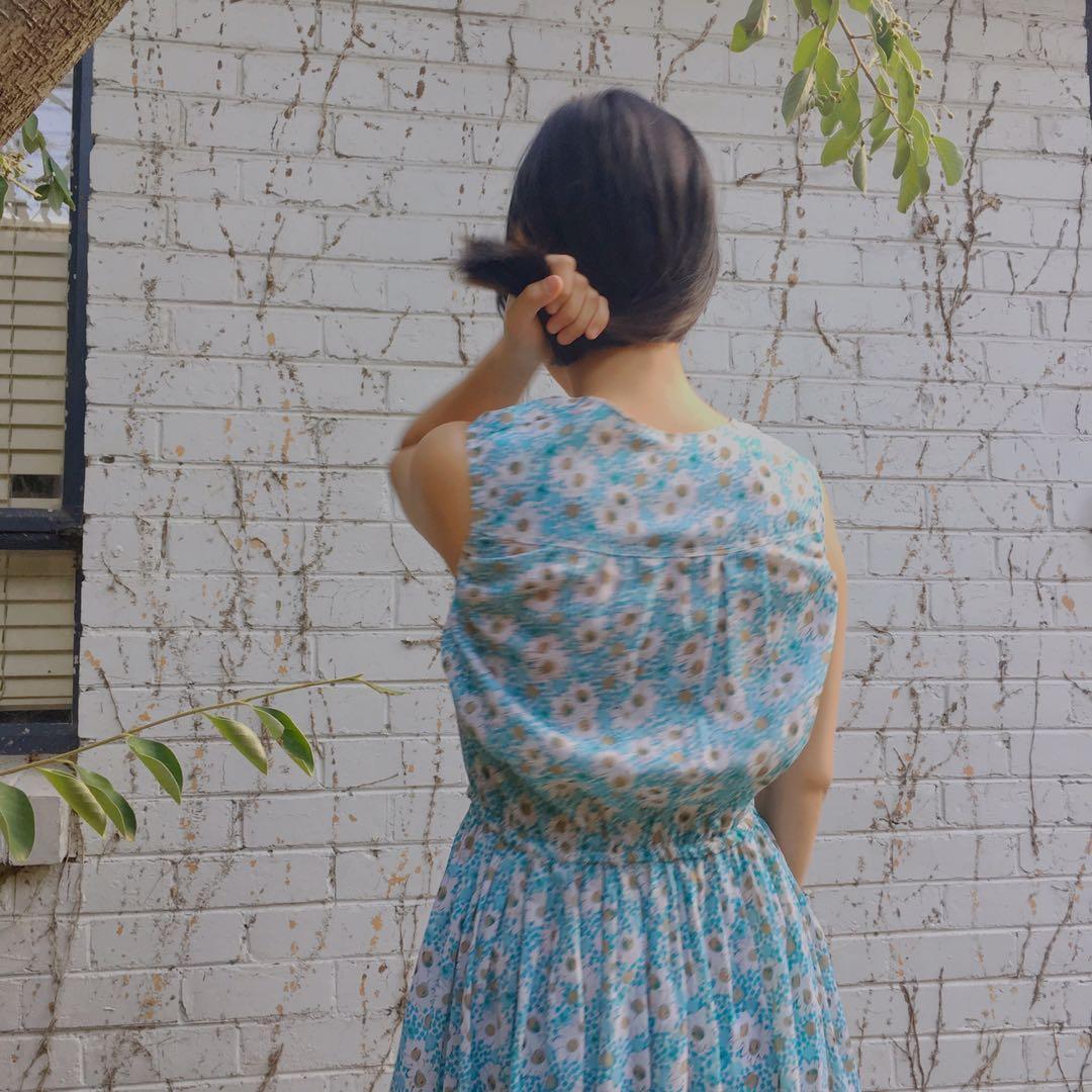 Vintage handmade baby blue sundress with daisy prints