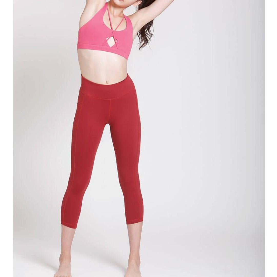 e5b2d5db032909 Vivre Activewear Activate Performance Crops - Tibetan Red