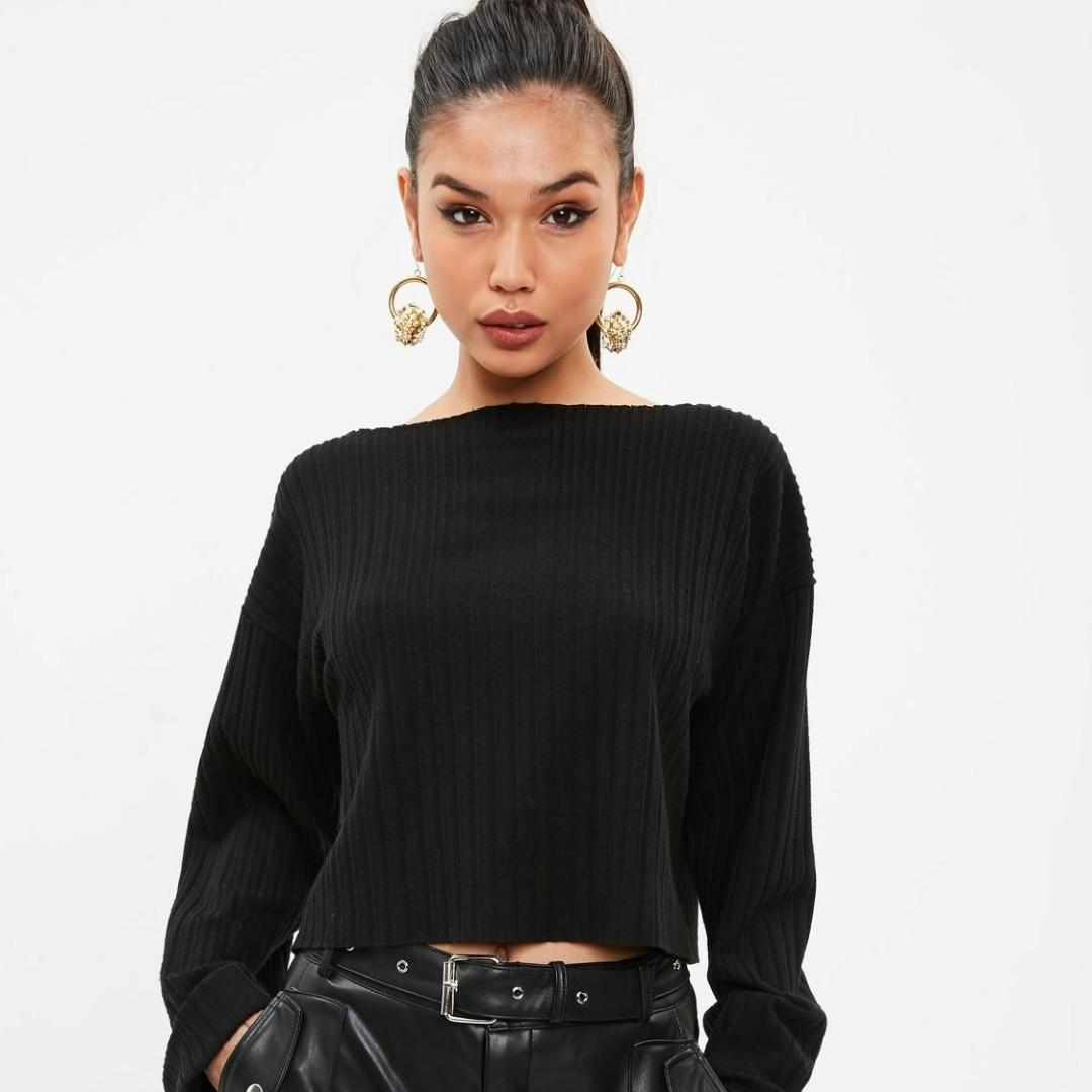 WORN TWICE black long sleeve ribbed long boxy crop top missguided size 8