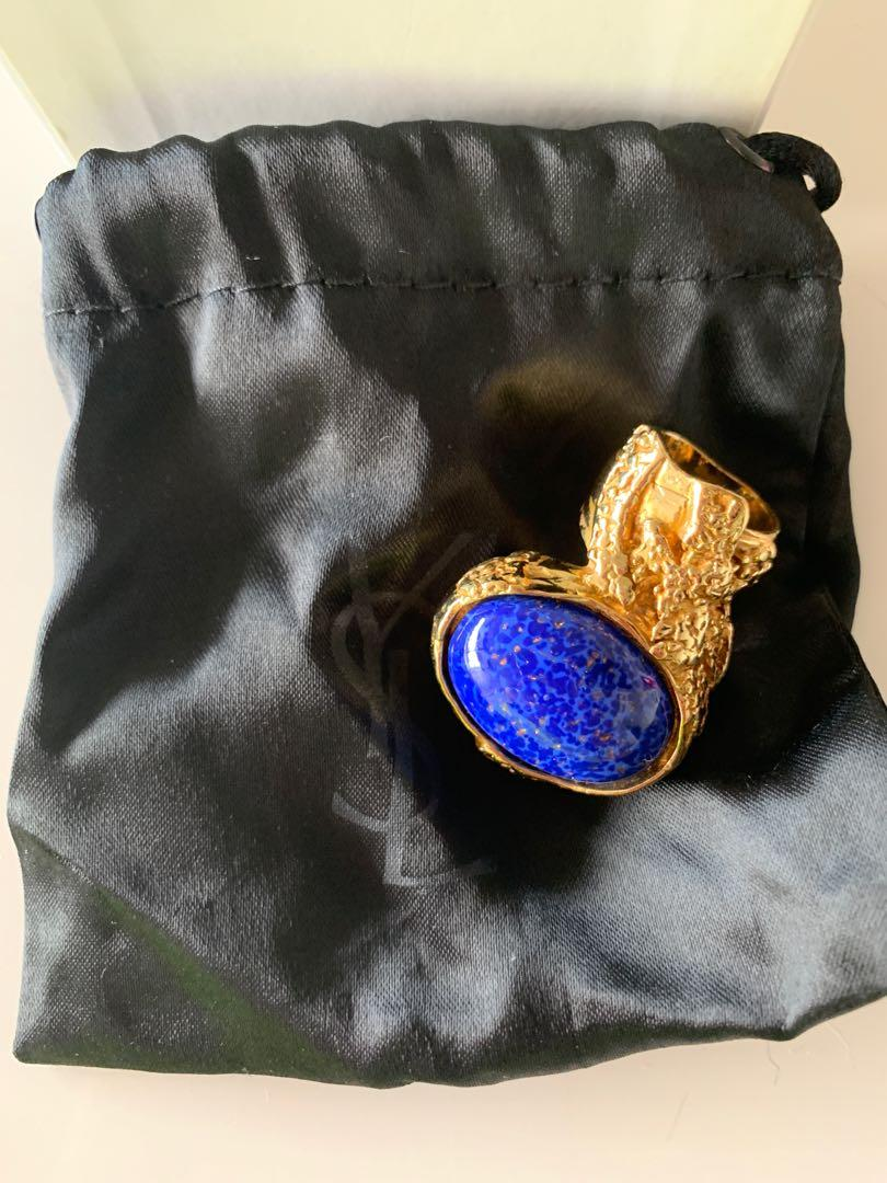 Yves Saint Laurent YSL Blue and Gold Artsy Ring size 5