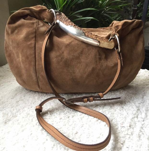 💎Yves Saint Laurent (YSL) Limited Edition Rare and Exotic Brown Suede  Mombasa Genuine Deer Horn 3-Way Bag💎 4f6cd07a0675d