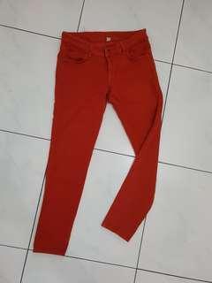 Celana panjang skinny coklat bata size 27 mid waist