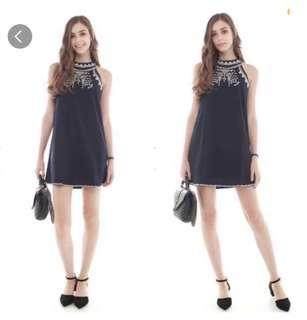 ACW navy embroidered dress