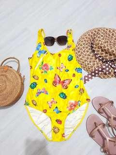 Yellow One Piece Swimsuit with Butterfly Prints