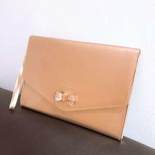 Ted Baker Rose Gold Luanne bow envelope pouch
