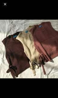 🚚 (已售出)秋冬保暖針織背心 卡其 咖啡 駝色