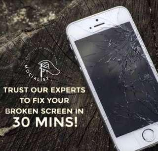 🚚 Get iPhone Cracked damaged screen fix! 30min Face to Face!