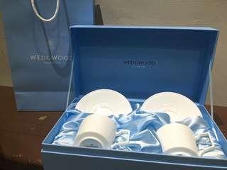 【禮盒】英國皇室陶瓷品牌WEDGWOOD 骨瓷對杯杯盤組 WEDGEWOOD 咖啡杯 茶杯 骨瓷 摩卡杯