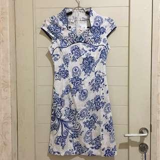 Cheongsam Porcelain BATIK Chinesse Blue Baju Dress CNY IMLEK