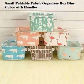 SMALL FOLDABLE FABRIC STORAGE BOX WITH HANDLES