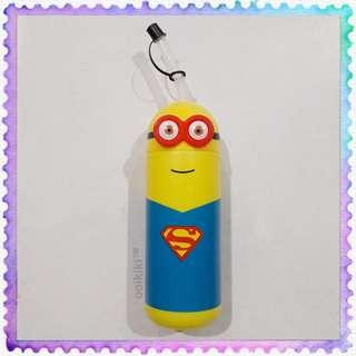 Minion Superman Drinking Water Bottle Tumbler Cup with Straw (used)