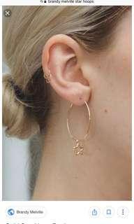 brandy melville star hoop earrings