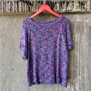 🚚 古著 紫色迷幻短袖針織上衣
