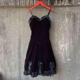 🚚 古著 女爵黑絲絨細肩帶洋裝
