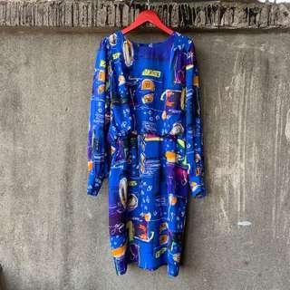 🚚 日本古著 藝術塗鴉藍洋裝
