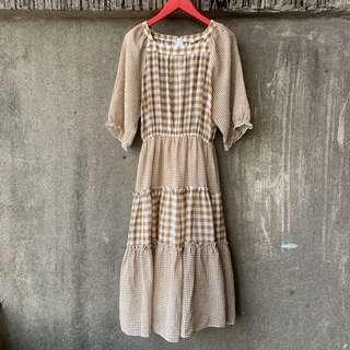 🚚 古著 鄉村歐蕾格紋洋裝