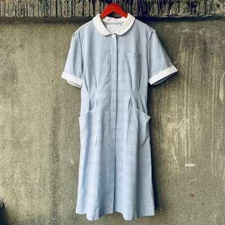 🚚 日本古著 純情白領寬洋裝