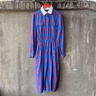 🚚 古著 文藝氣質藍格紋洋裝