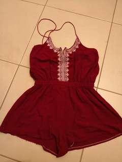 Embroidered Red Romper