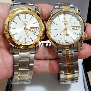 Seiko 5 automatic two tone classic stainless steel men watch brand new